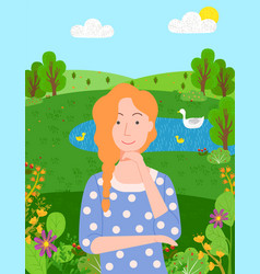 woman relaxing pond traveling female character vector image