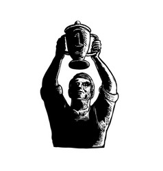 Worker lifting championship cup scratchboard vector