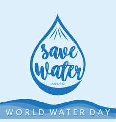 world water day letter with color blue vector image