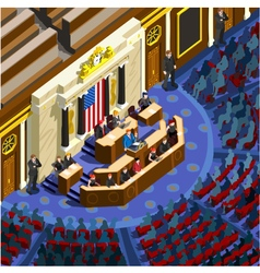 Election Infographic Parliament Hall Us Isometric vector image vector image