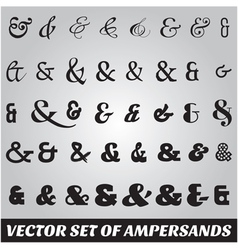 set of ampersands from different fonts vector image