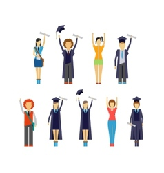 Set of cheering students and graduates vector image vector image