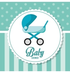 Stroller of baby shower card design vector image vector image
