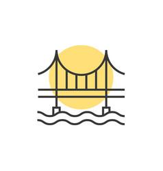 thin line sunset behind the bridge logo vector image vector image