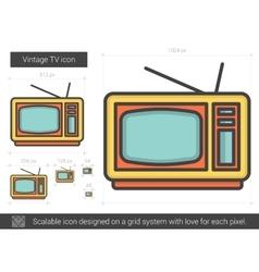 Vintage tv line icon vector