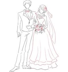 Wedding couple sketch vector image vector image