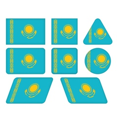 buttons with flag of Kazakhstan vector image vector image