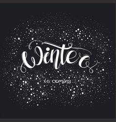 hello winter hand written inscription vector image