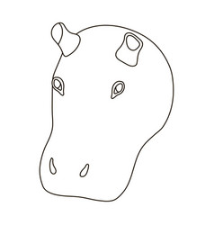 hippopotamus icon in outline style isolated on vector image