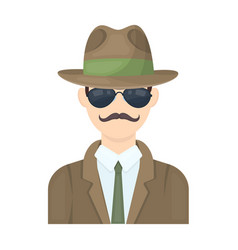 man in hat suit raincoat and glasses the vector image