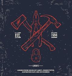 Vintage Crossed Handtools T-shirt Print design vector image vector image