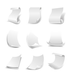 blank white paper sheets in rolls or curved sides vector image vector image