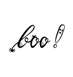 boo modern inscription with ghost vector image