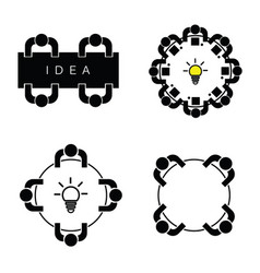 people silhouette icon with idea lightbulb vector image vector image