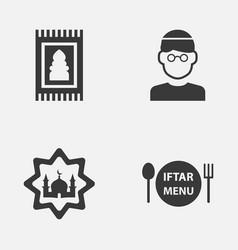 ramadan icons set collection of prayer carpet vector image vector image