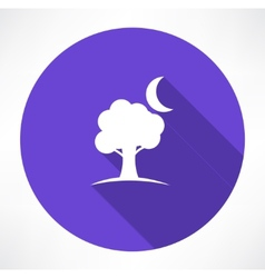 tree and moon icons vector image