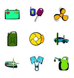 vehicle icons set cartoon style vector image