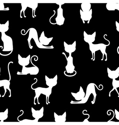 White Cats Seamless Pattern vector image