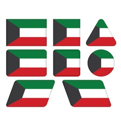 buttons with flag of Kuwait vector image vector image