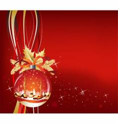 christmas ball in red color vector image vector image
