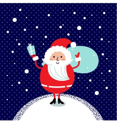 Cute retro Santa isolated on winter background vector image vector image