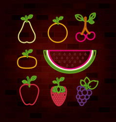 fruits set in neon sign on brick wall vector image