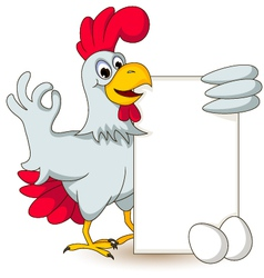 funny chicken holding blank sign vector image vector image