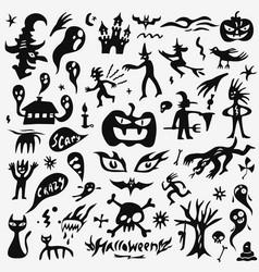 halloween monsters doodles set vector image