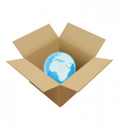 shipping box in world vector image vector image