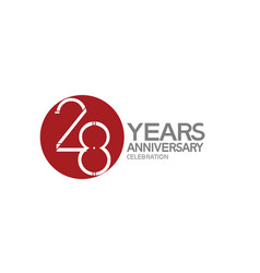 28 years anniversary logotype design with big red vector