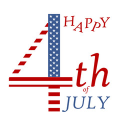 4th of july independence day greeting- us flag vector image