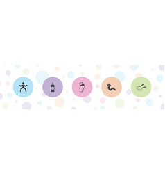 5 fitness icons vector