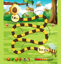 A bee board game template vector