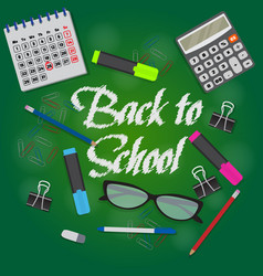 Back to school text on green chalkboard banner vector