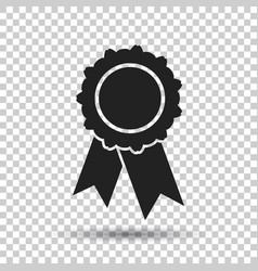 Badge with ribbon icon in flat style on isolated vector