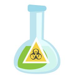 beaker with biohazard sign vector image