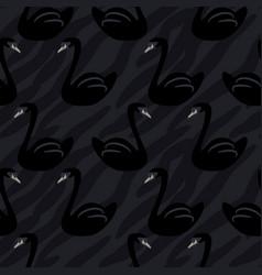 black swan cartoon seamless pattern vector image