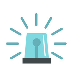 Blue flashing emergency light icon flat style vector