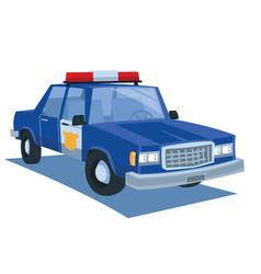 Blue police car cartoon vector
