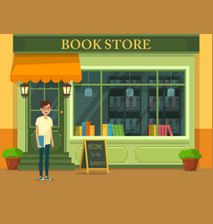 bookshop showcase with literature vector image