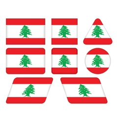 buttons with flag of Lebanon vector image