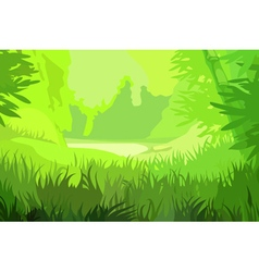 Cartoon background bright green field vector