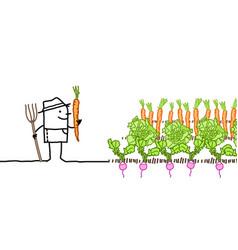 Cartoon farmer and vegetables garden vector