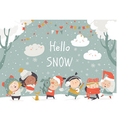 Cartoon happy children enjoying winter hello snow vector