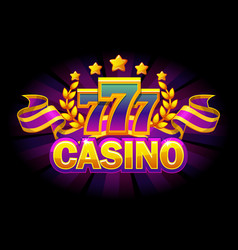 Casino banner with 777 and purple ribbon vector