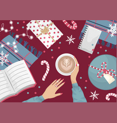 Christmas flat lay with a wool wardrobe and a book vector