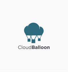cloud and air balloon logo icon air journey logo vector image