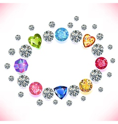 Colored gems oval frame vector image