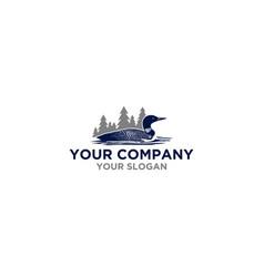 Common loon in mountain logo design vector
