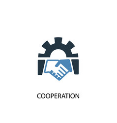 cooperation concept 2 colored icon simple blue vector image